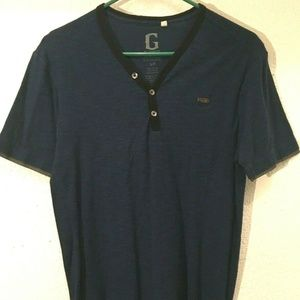 Guess Men's Blue Black Casual Small Shirt